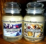 2 New Vintage Yankee Candle White Christmas Black Bands With Different Labels