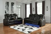Ashley Furniture Party Time Power Recline Sofa And Loveseat Living Room Set
