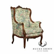 Lawsonia French Louis Xv Style Vintage Carved Walnut Bergere Wing Chair
