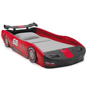 Kids Turbo Race Car Twin Bed Durable Molded Plastic Decorated W/ Cool Decals Red