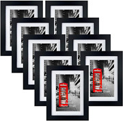 4x6 Picture Frame Set Of 9, 5x7 Black Photo Frames Matted For 4x6 Pictures, Wall