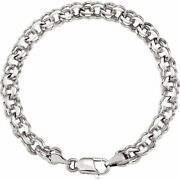 7mm 14k White Gold Solid Double Cable Chain Charm Bracelet 7 Inch