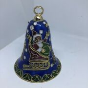 """Vintage Cloisonne Christmas Santa Claus And His Reindeer Bell Ornament 3.5"""""""