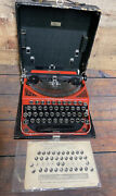 Antique 1924 Remington Two Tone Red Portable Typewriter In Case + Guide + Brush
