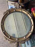 Vintage Federal Wood Gold Eagle Convex Round Wall Mirror 13 Colonies