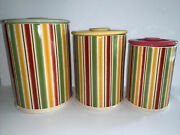 Vtg April Cornell Grand Fleur For Silvestri Striped Red Green Yellow Canisters