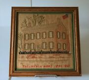 Vintage Embroidered Cross Stitch Sampler Of The Lincoln Home 1844-1861 With Flag