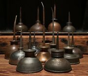 Lo Of 13 Small Antique Vintage Thumb Oilers/ Oil Cans