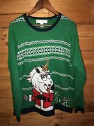 Jolly Sweaters Unicorn Santa Ugly Christmas Sweater Green White Knit Pullover L