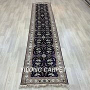 Yilong 2.5and039x12and039 Handknotted Silk Carpet Hallway Gallery Oriental Area Rug Y283b