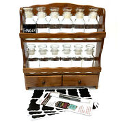Vintage Wood Spice Rack With 12 Glass Jars Chalkboard Labels And Chalk Pen