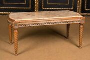 Couch Table With Marble Platter In Louis Seize Style Made Of Solid Beech Wood