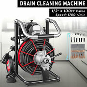Commercial Drain Cleaner 100ft X 1/2 Sewer Snake Drain Auger Cleaner W/ Cutter