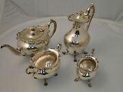 Silver Plated Tea Set Fancy Body, Antique Victorian 1860 Cast Handles Marked