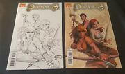 Damsels 4 And 4 Variant Michael Linsner Sketch Rare Nm Dynamite