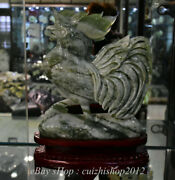 14 Chinese Natural Xiu Jade Carving Feng Shui Cock Rooster Luck Base Statue