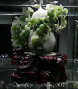 15 China Natural Xiu Jade Hand Carved Feng Shui Bird Gourd Statue Decoration