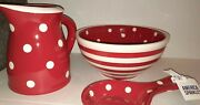 Terramoto Ceramic 3 Piece Large Mixing Bowl Pitcher Spoon Rest Set Red White Nwt