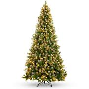 Pre-lit Pre-decorated Christmas Tree With Flocked Tips And Pine Cones Home Decor