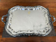 Silver Plate Ascot Large Serving Tray Vintage Sheffield Rogers Footed Handles 29