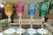 Set Of 4 European Fancy Multi Color Cut To Clear Crystal Wine Water Goblets