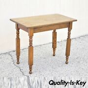 19th American Colonial Walnut Maple Small Desk Side Table With Turn Carved Legs