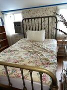 Antique Vintage 1970's Style Full Size Brass Bed Frame And Rails Local Nyc