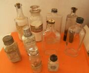 Vintage Medicine Apothecary Bottles Lot12 - Total 10 Clear Glass -