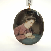 12ct 34.4gr Gold 19th Century Mary Bruce Duchess Hand Painted Pendant 51841