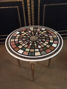 Pietra Dura Marble Platter With Semi-precious Covered Inlaid Made