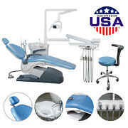 Dental Unit Chair Hard Leather Computer Controlled Dc Motor And Stool Fda Ce Blue