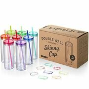 Skinny Acrylic Tumbler Cups With Straws - 18 Oz 8 Pack Assorted Colors