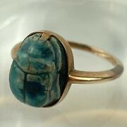 Antique Egyptian Revival Faience Scarab Beetle 15ct Rose Gold Ring Size H 1/2