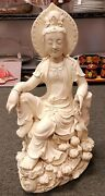 19th Century Chinese After He Chaozong Dehua Porcelain Guanyin On Lotus Throne