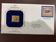 Commemorative 1918 Air Mail Issue 22kt Gold Replica 24 Cent Inverted Jenny Stamp