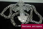 Massive Vintage Sterling Silver 925 Chain Necklace And Cross Men's Jewerly 260gr