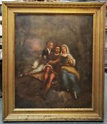 18th/19th Century Italian School Man And Women Reading In Forest Oil Painting