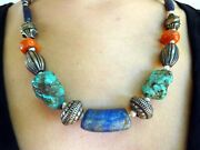 A Vintage Ladakh Necklace With Antique Natural Coral, Turquoise And Lapis Beads