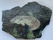 Vintage Fish Hand Painted On Slate Art Wall Hanging Sign Cabin Lake Beach Decor
