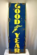Vintage Good Year Tire Tyres Sign Board Porcelain Enamel Advertising Store Rare