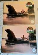 2 Vintage Kodiak Smokeless Chewing Tobacco Bear In Boat Plastic Placemat Signs