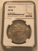 💥1884 S Morgan Silver Dollar Ngc Au 58 Nice Blast White Luster Filled Example💥