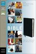 Niv Thinline Bible Bonded Leather Black Indexed Red Letter Edition Zonderv