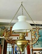 Three Large Ornate Ceiling Hanging Brass Electric Oil Lamps - Vintage Antique