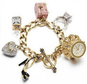 Nib Juicy Couture Crown Watch Charm Bracelet Jewelry Chest Ring Heel Heart
