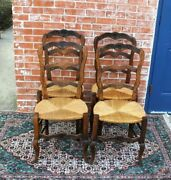 Set Of 4 French Antique Louis Xv Carved Oak Rush Seat Dining Chairs