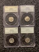 4 Pcgs Silver Coin Samples 1963 1964 Roosevelt Dimes Rattler Holders Ms 64