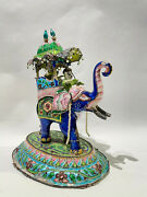 Silver And Enamel Indian Elephant Figure