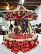 Vintage Mr Christmas Large Carousel Plays Music Lights Up Fully Working