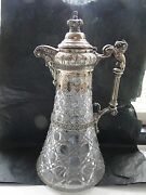 Decanter Silver Plated Crystal Victorian 1870 Beautifully Crafted Unmarked